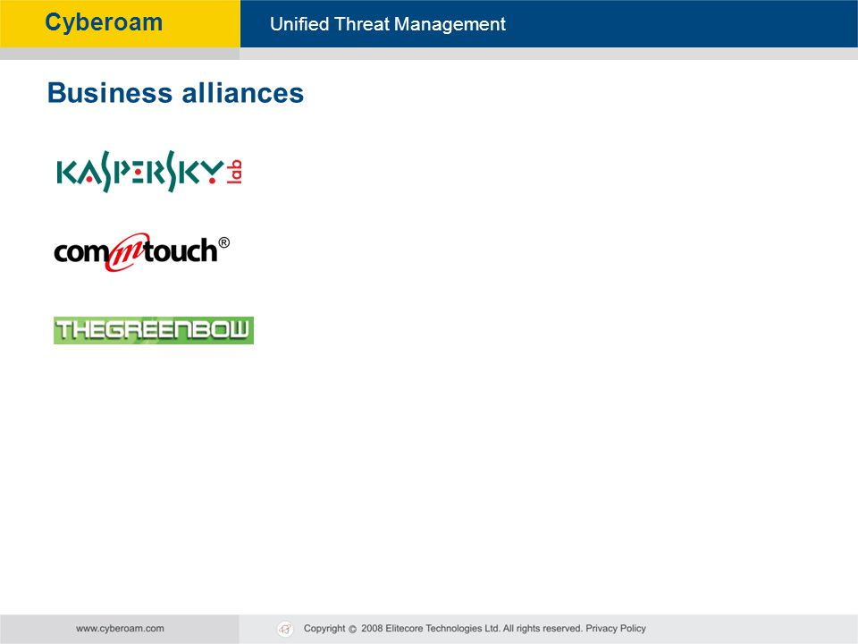 Cyberoam - Unified Threat Management Unified Threat Management Cyberoam Business alliances