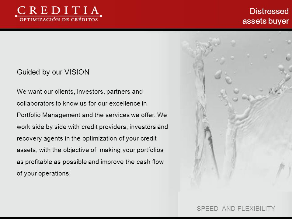 Distressed assets buyer Guided by our VISION We want our clients, investors, partners and collaborators to know us for our excellence in Portfolio Management and the services we offer.