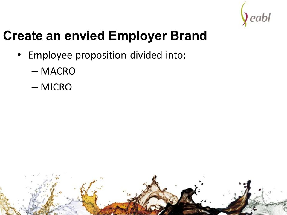 Create an envied Employer Brand Employee proposition divided into: – MACRO – MICRO