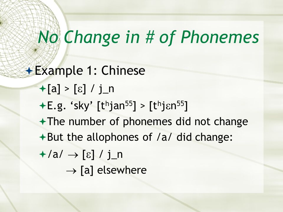 No Change in # of Phonemes Example 1: Chinese [a] > [ ] / j_n E.g. sky [t h jan 55 ] > [t h j n 55 ] The number of phonemes did not change But the all