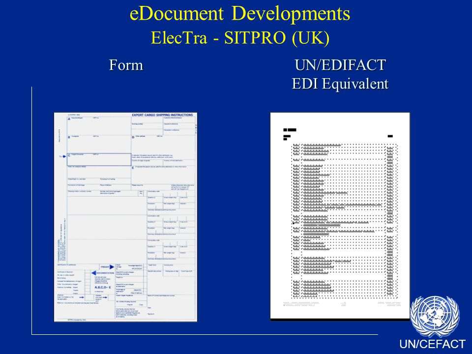 UN/CEFACT eDocument Developments ElecTra - SITPRO (UK)FormUN/EDIFACT EDI Equivalent