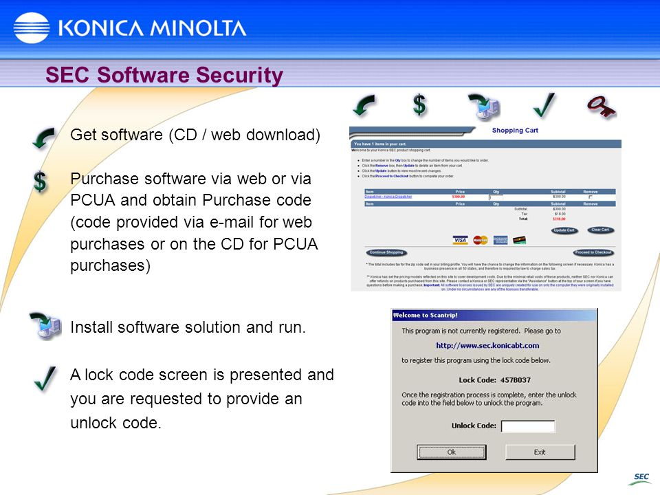 SEC Software Security Get software (CD / web download) Purchase software via web or via PCUA and obtain Purchase code (code provided via e-mail for web purchases or on the CD for PCUA purchases) Install software solution and run.