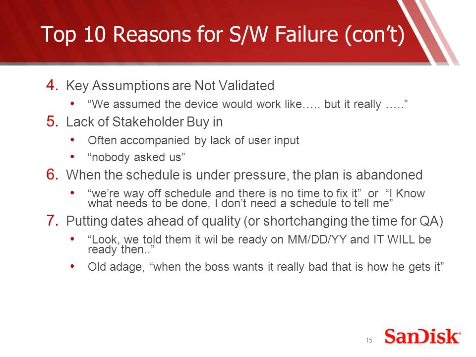 15 Top 10 Reasons for S/W Failure (cont) 4.