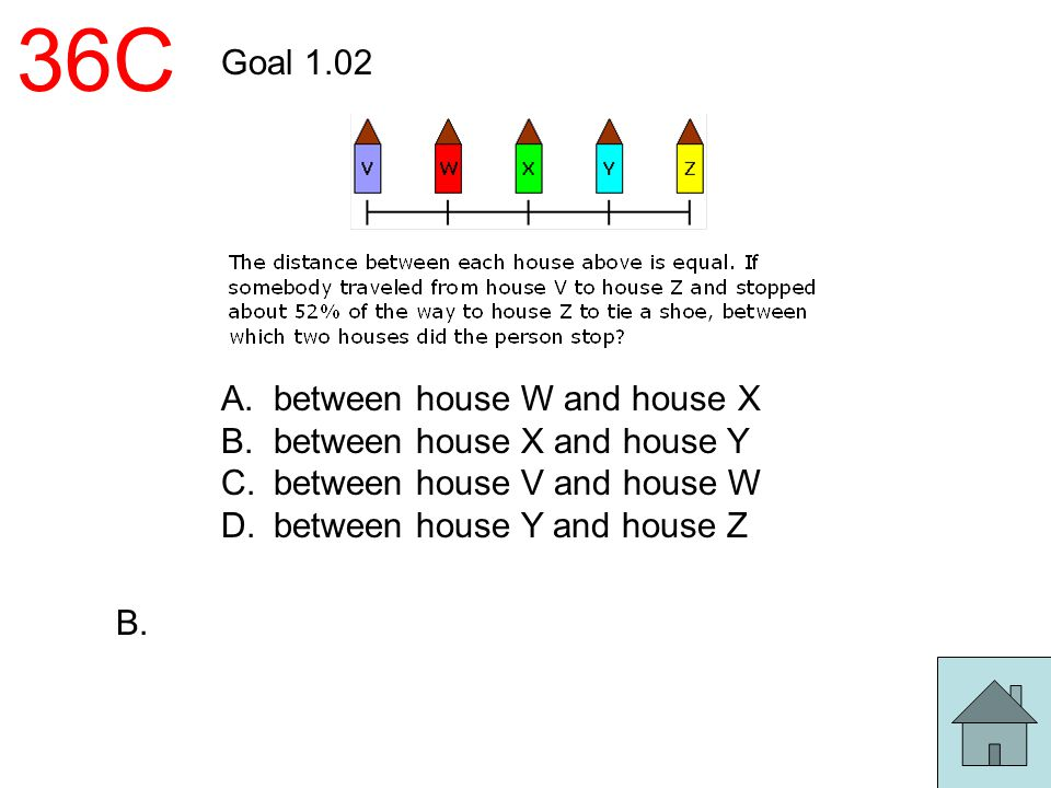 36C Goal 1.02 A.between house W and house X B.between house X and house Y C.between house V and house W D.between house Y and house Z B.