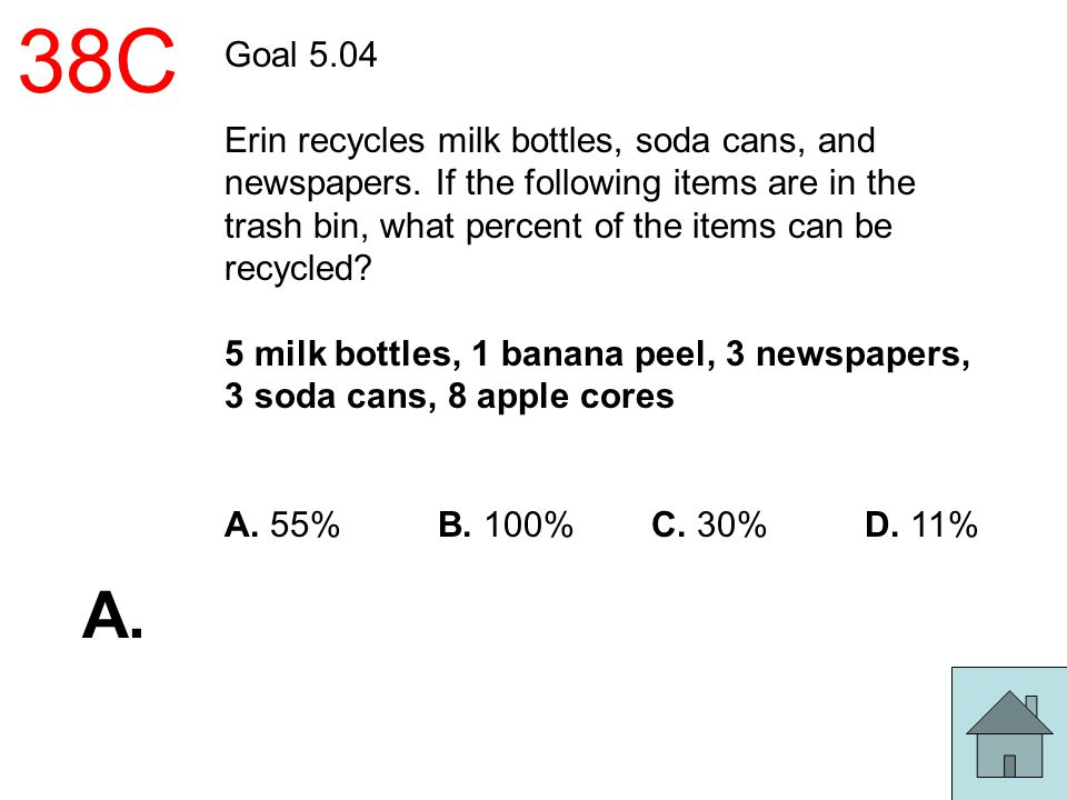 38C Goal 5.04 Erin recycles milk bottles, soda cans, and newspapers. If the following items are in the trash bin, what percent of the items can be rec