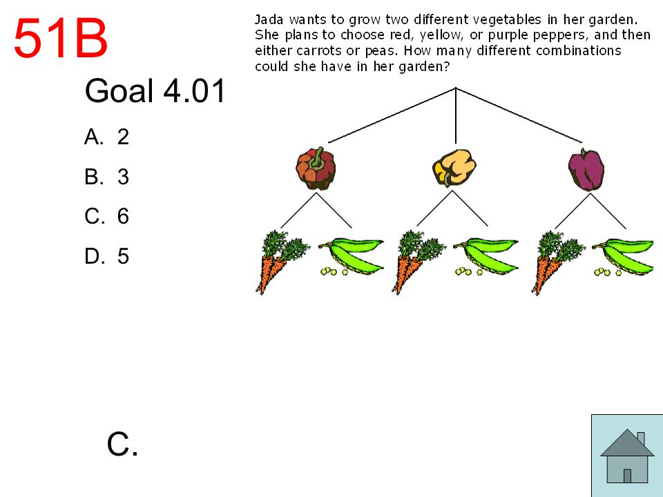 51B Goal 4.01 A.2 B.3 C.6 D.5 C.