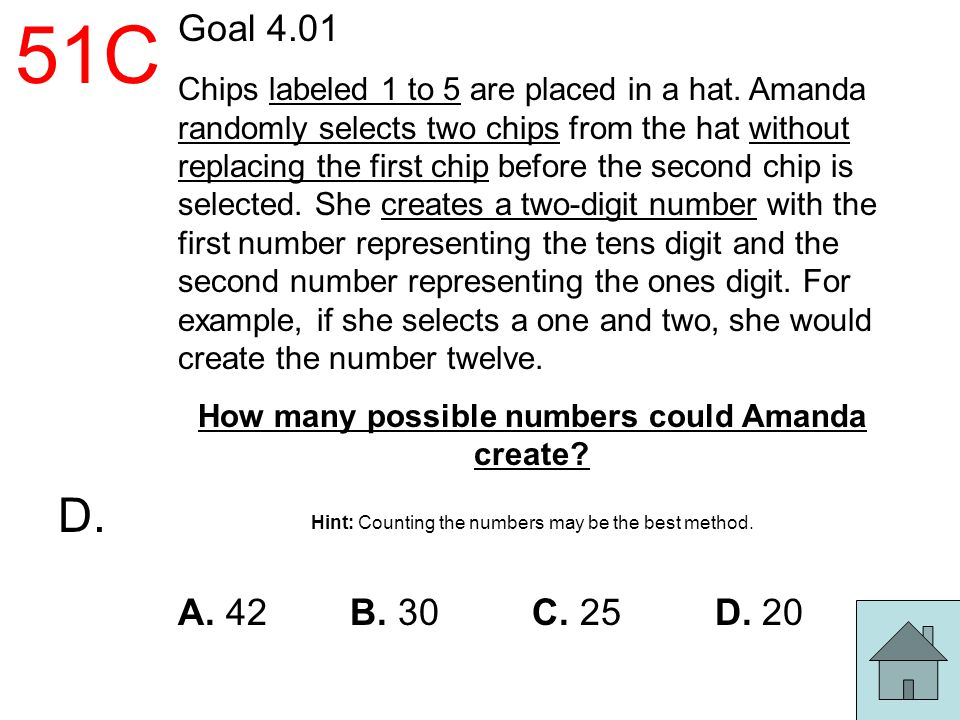 51C Goal 4.01 Chips labeled 1 to 5 are placed in a hat. Amanda randomly selects two chips from the hat without replacing the first chip before the sec