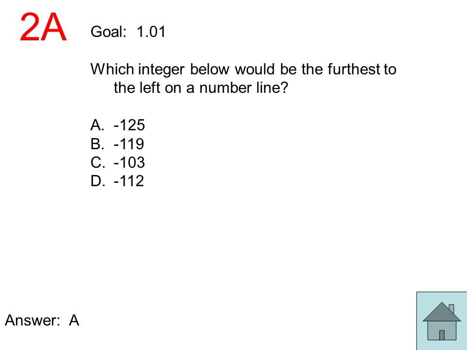 2A Goal: 1.01 Which integer below would be the furthest to the left on a number line? A.-125 B.-119 C.-103 D.-112 Answer: A