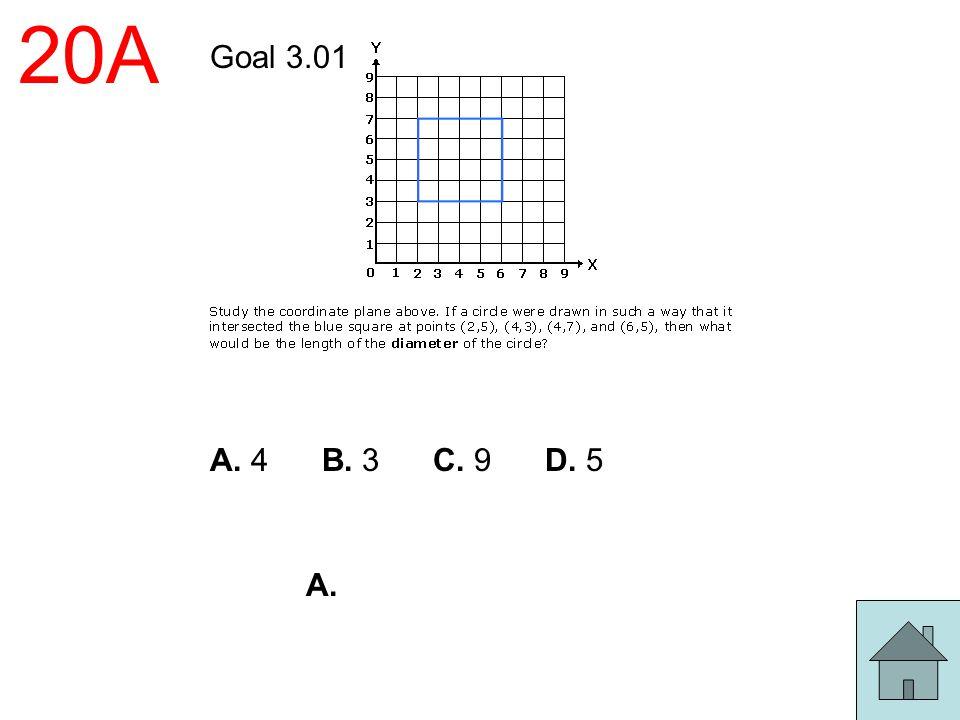 20A Goal 3.01 A. 4 B. 3 C. 9 D. 5 A.