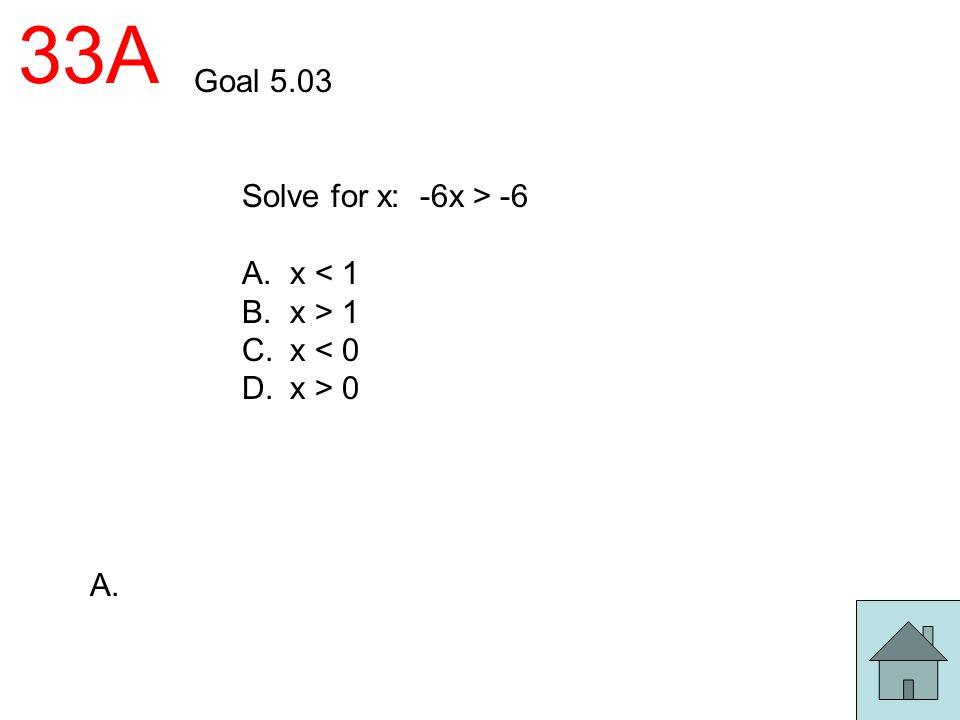 33A Goal 5.03 Solve for x: -6x > -6 A. x < 1 B. x > 1 C. x < 0 D. x > 0 A.