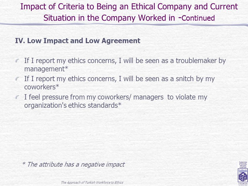 The Approach of Turkish Workforce to Ethics 18 IV. Low Impact and Low Agreement If I report my ethics concerns, I will be seen as a troublemaker by ma
