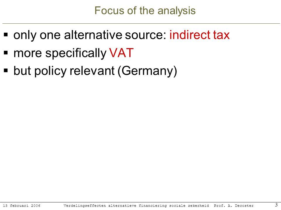13 februari 2006 Verdelingseffecten alternatieve financiering sociale zekerheidProf. A. Decoster 3 Focus of the analysis only one alternative source: