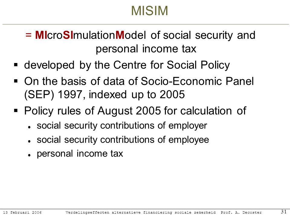 13 februari 2006 Verdelingseffecten alternatieve financiering sociale zekerheidProf. A. Decoster 31 MISIM = MIcroSImulationModel of social security an