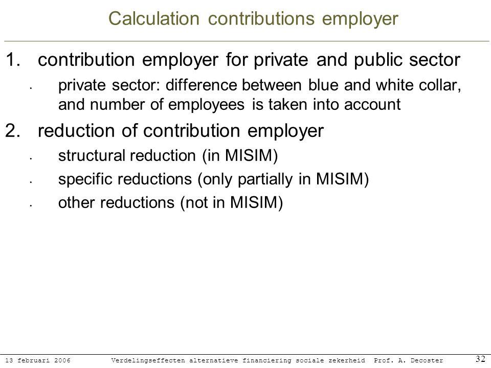 13 februari 2006 Verdelingseffecten alternatieve financiering sociale zekerheidProf. A. Decoster 32 Calculation contributions employer 1.contribution