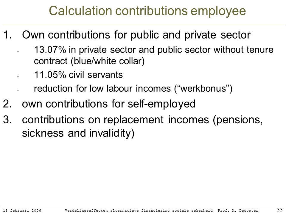 13 februari 2006 Verdelingseffecten alternatieve financiering sociale zekerheidProf. A. Decoster 33 Calculation contributions employee 1.Own contribut