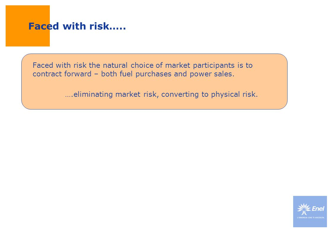 Faced with risk…..