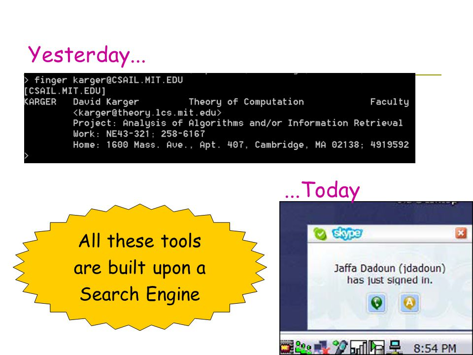 Yesterday......Today All these tools are built upon a Search Engine