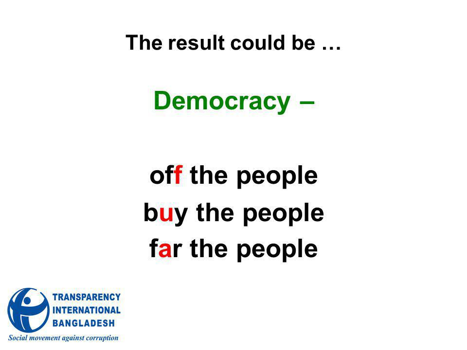 The result could be … Democracy – off the people buy the people far the people