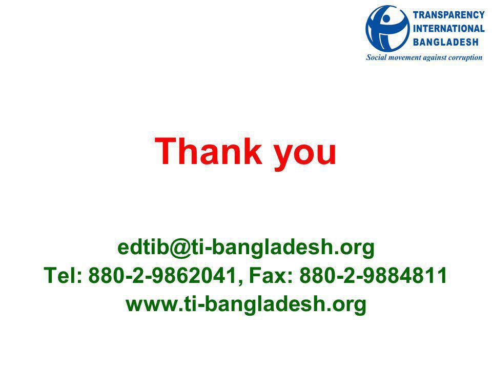 Thank you edtib@ti-bangladesh.org Tel: 880-2-9862041, Fax: 880-2-9884811 www.ti-bangladesh.org