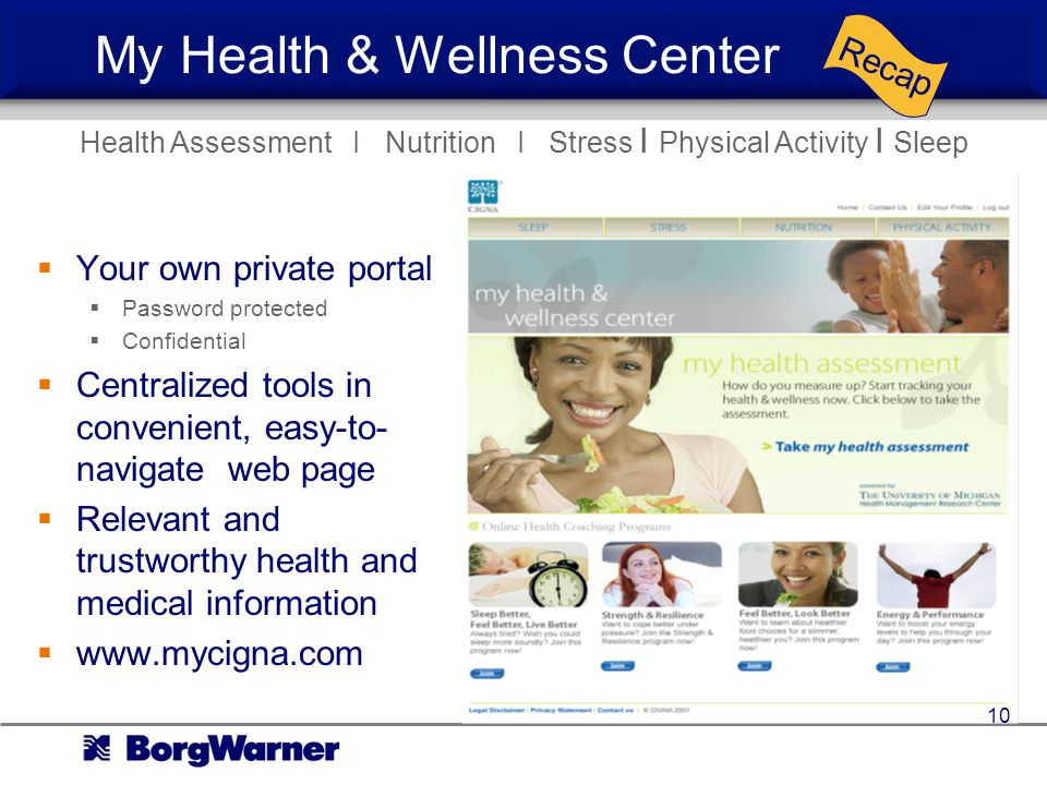 My Health & Wellness Center Your own private portal Password protected Confidential Centralized tools in convenient, easy-to- navigate web page Relevant and trustworthy health and medical information www.mycigna.com Recap Health Assessment I Nutrition I Stress I Physical Activity I Sleep 10