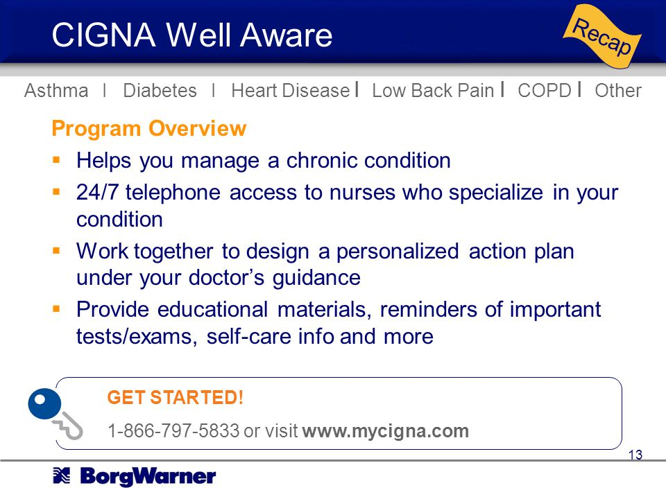 CIGNA Well Aware Program Overview Helps you manage a chronic condition 24/7 telephone access to nurses who specialize in your condition Work together to design a personalized action plan under your doctors guidance Provide educational materials, reminders of important tests/exams, self-care info and more Asthma I Diabetes I Heart Disease I Low Back Pain I COPD I Other Recap GET STARTED.