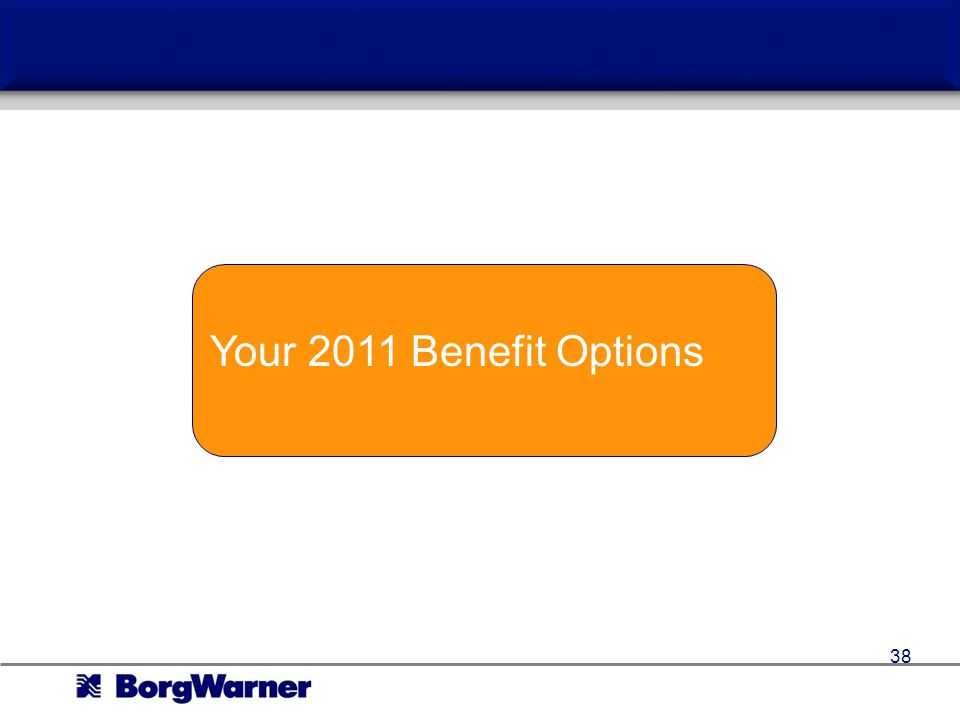 Your 2011 Benefit Options 38