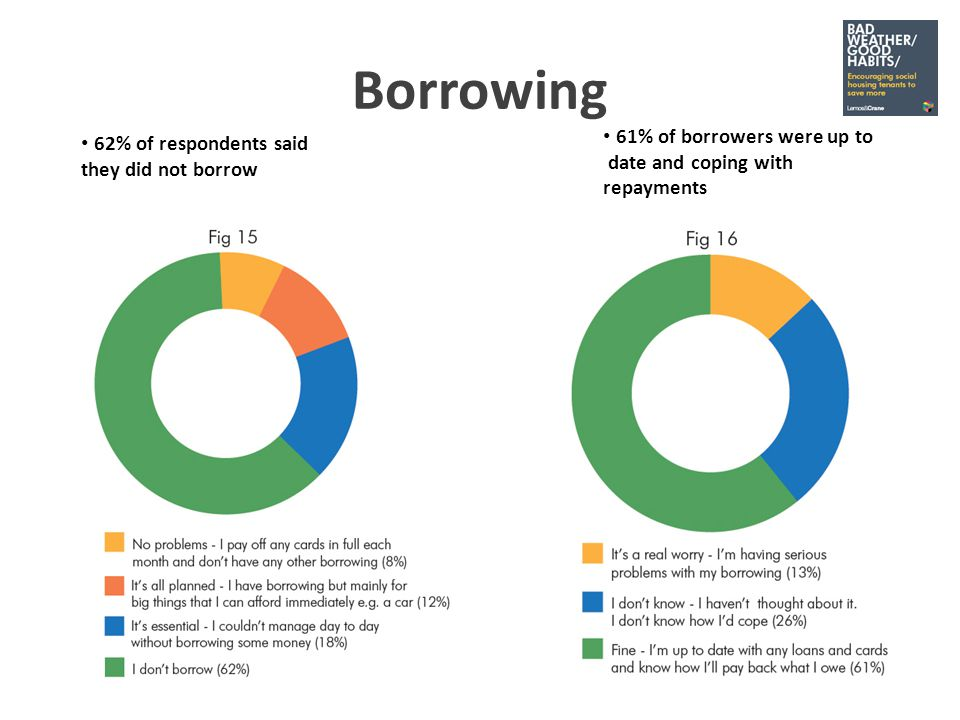 Borrowing 61% of borrowers were up to date and coping with repayments 62% of respondents said they did not borrow