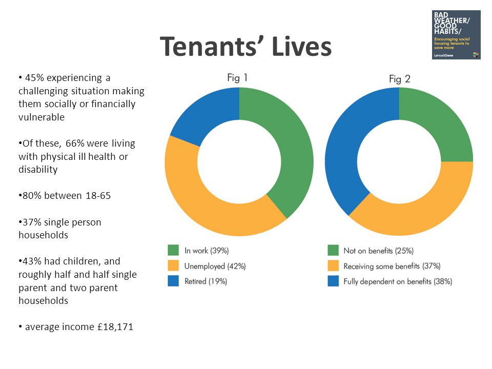 Tenants Lives 45% experiencing a challenging situation making them socially or financially vulnerable Of these, 66% were living with physical ill health or disability 80% between 18-65 37% single person households 43% had children, and roughly half and half single parent and two parent households average income £18,171