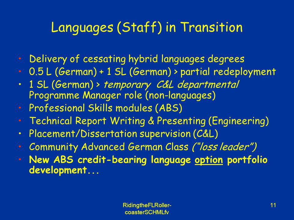 RidingtheFLRoller- coasterSCHMLfv 11 Languages (Staff) in Transition Delivery of cessating hybrid languages degrees 0.5 L (German) + 1 SL (German) > partial redeployment 1 SL (German) > temporary C&L departmental Programme Manager role (non-languages) Professional Skills modules (ABS) Technical Report Writing & Presenting (Engineering) Placement/Dissertation supervision (C&L) Community Advanced German Class (loss leader) New ABS credit-bearing language option portfolio development...