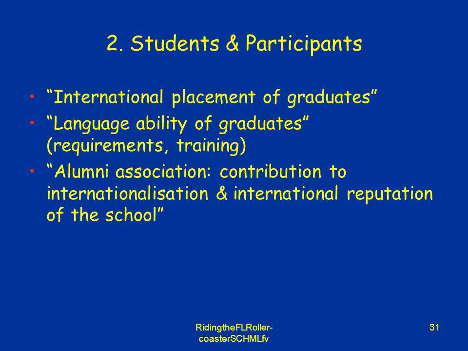 RidingtheFLRoller- coasterSCHMLfv 31 2. Students & Participants International placement of graduates Language ability of graduates (requirements, trai