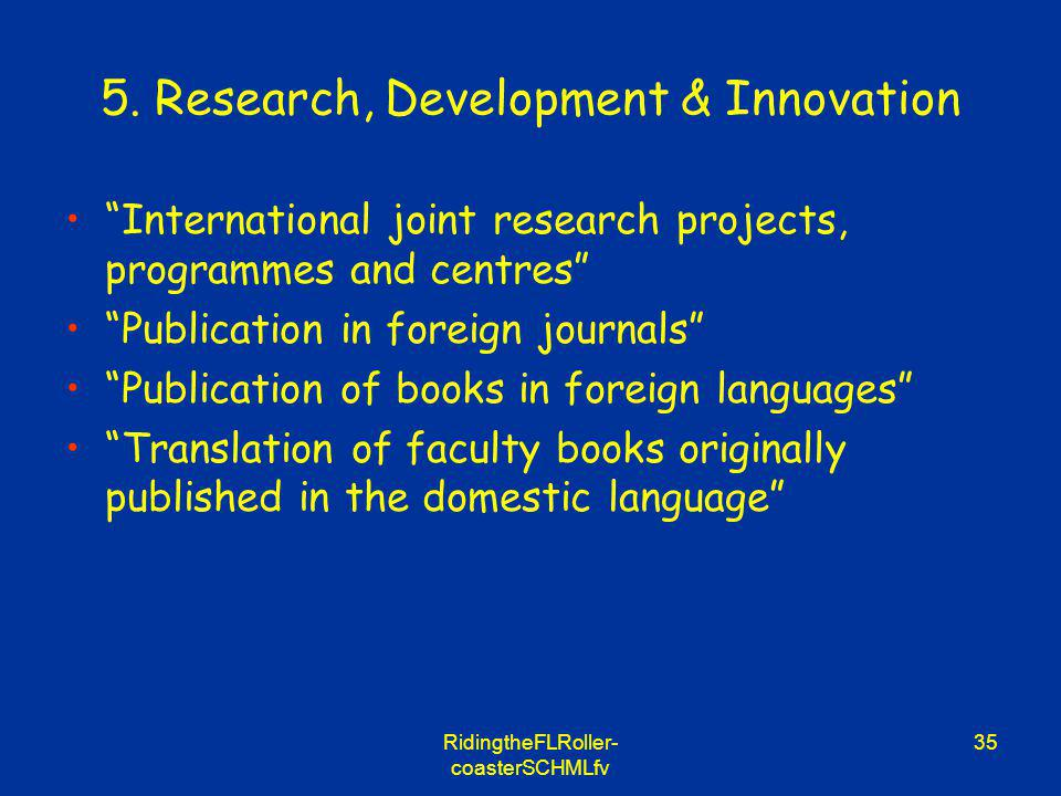 RidingtheFLRoller- coasterSCHMLfv 35 5. Research, Development & Innovation International joint research projects, programmes and centres Publication i