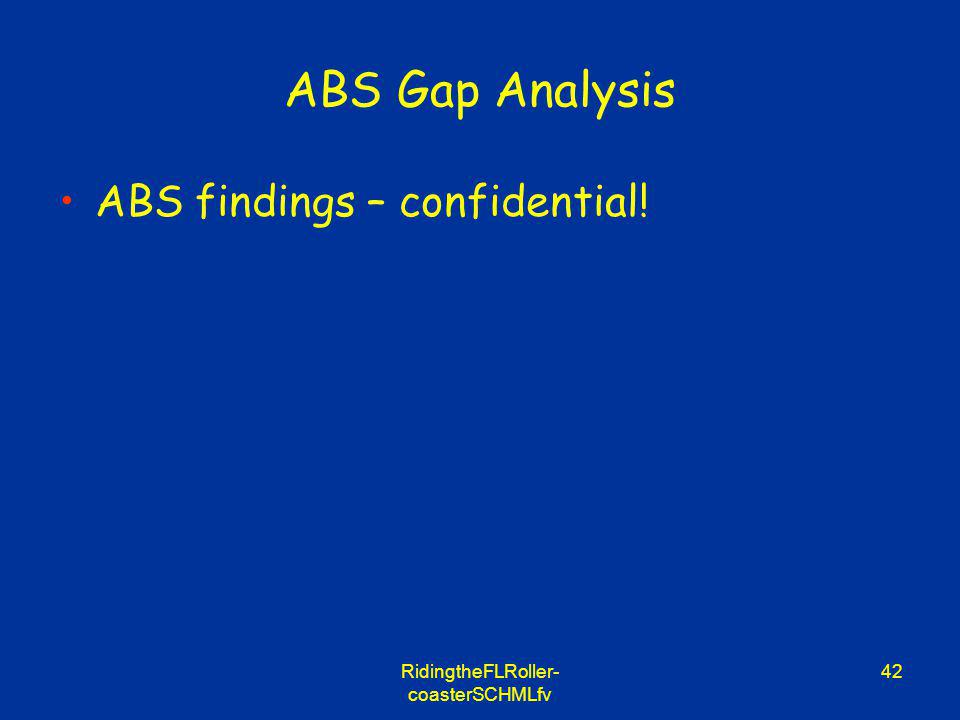 RidingtheFLRoller- coasterSCHMLfv 42 ABS Gap Analysis ABS findings – confidential!