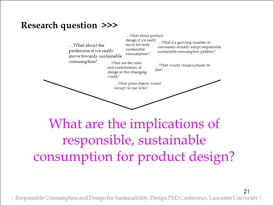Research question >>> | Responsible Consumption and Design for Sustainability, Design PhD Conference, Lancaster University | …What about product design if we really move towards sustainable consumption.