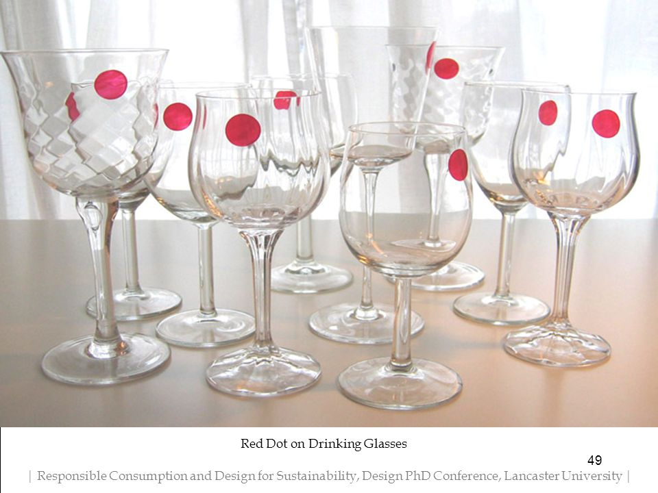 Red Dot on Drinking Glasses 49 | Responsible Consumption and Design for Sustainability, Design PhD Conference, Lancaster University |