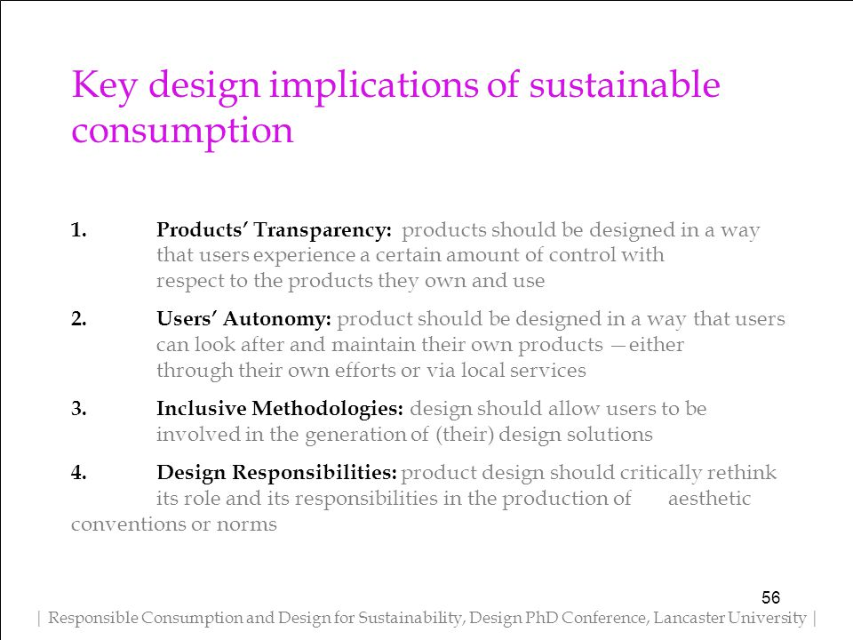 Key design implications of sustainable consumption 1.