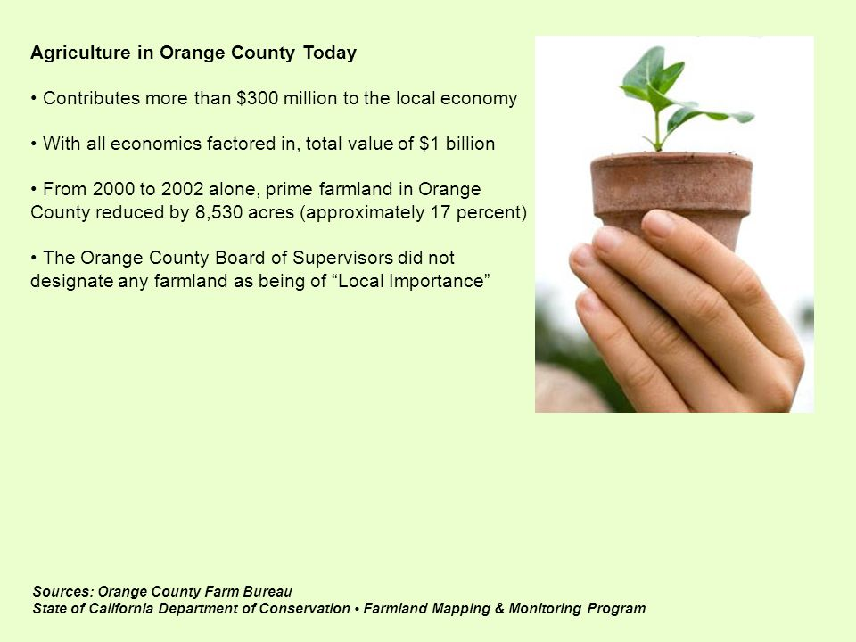 Sources: Orange County Farm Bureau State of California Department of Conservation Farmland Mapping & Monitoring Program Agriculture in Orange County Today Contributes more than $300 million to the local economy With all economics factored in, total value of $1 billion From 2000 to 2002 alone, prime farmland in Orange County reduced by 8,530 acres (approximately 17 percent) The Orange County Board of Supervisors did not designate any farmland as being of Local Importance