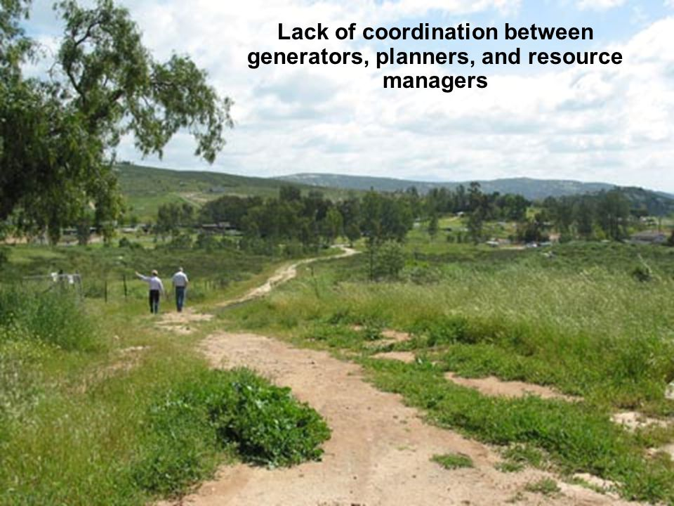 Lack of coordination between generators, planners, and resource managers