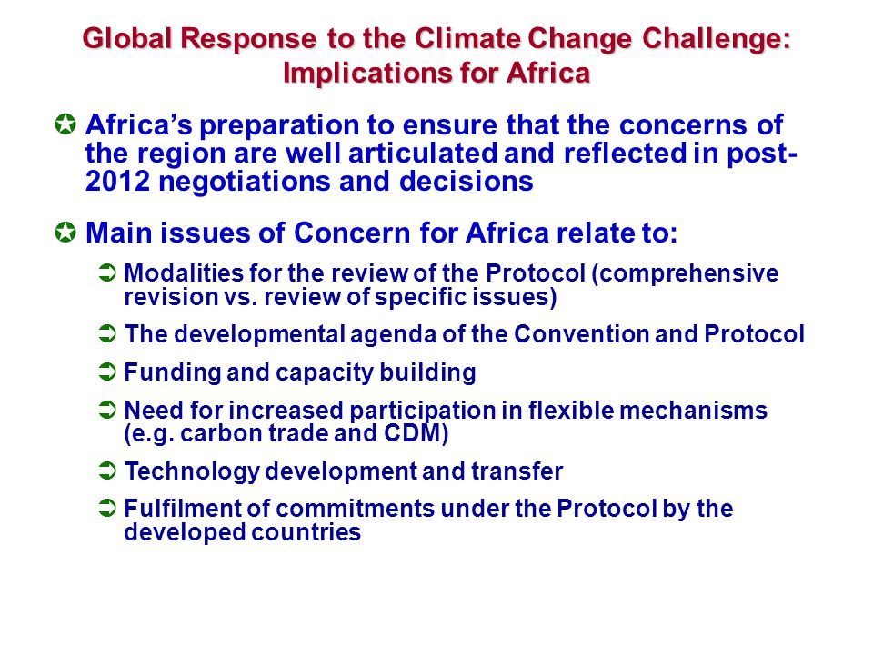 Facing up to the Climate Change Challenge in Africa: Suggested ActionAid Response Identify and develop a country programmes capacity to generate and administer an adequate base of knowledge to address climate change challenge for sustainable development Focus on climate-related activities: Policy research and analysis: control of activities responsible for emissions, participatory adaptation cost assessment Consensus building at community and national level: alternative grassroots climate change adaptation strategies Holding local corporations to account (responsibility &liability ) Capacity strengthening, technical advice and assistance Communication and outreach and movement building Knowledge management and peer learning