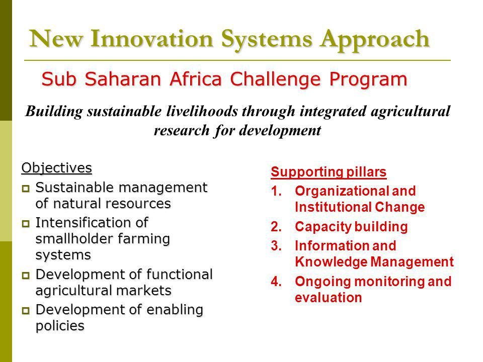 Supporting pillars 1.Organizational and Institutional Change 2.Capacity building 3.Information and Knowledge Management 4.Ongoing monitoring and evaluation Objectives Sustainable management of natural resources Sustainable management of natural resources Intensification of smallholder farming systems Intensification of smallholder farming systems Development of functional agricultural markets Development of functional agricultural markets Development of enabling policies Development of enabling policies Sub Saharan Africa Challenge Program New Innovation Systems Approach Building sustainable livelihoods through integrated agricultural research for development
