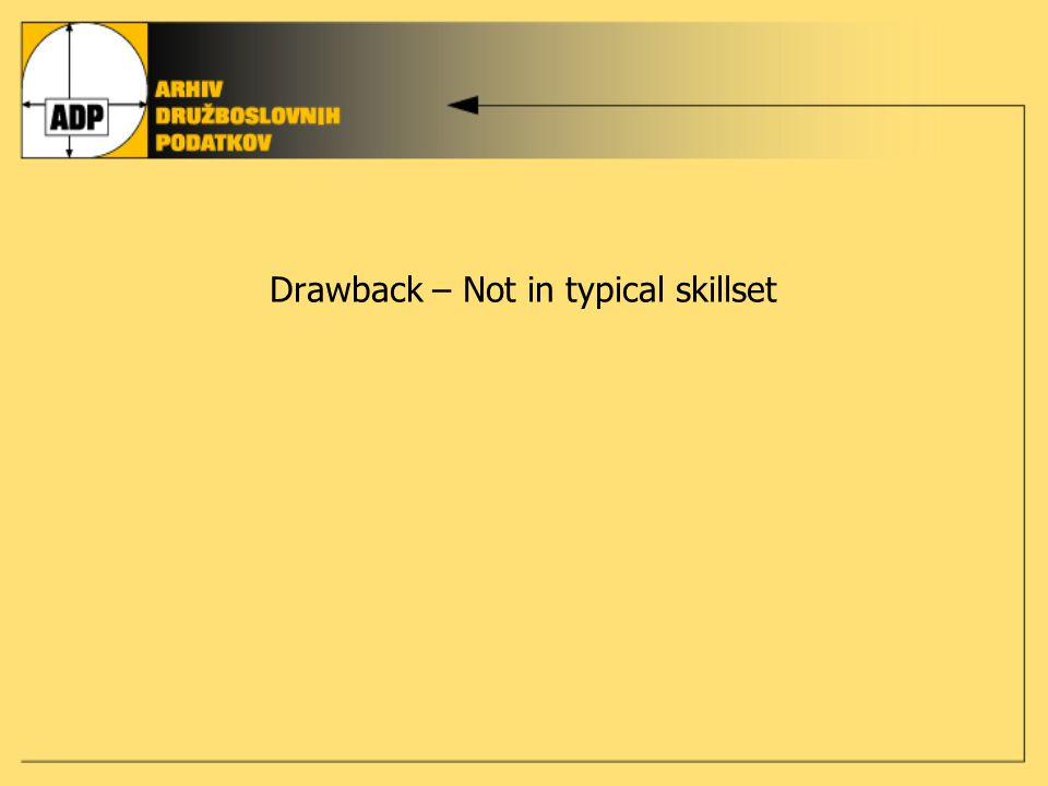 Drawback – Not in typical skillset