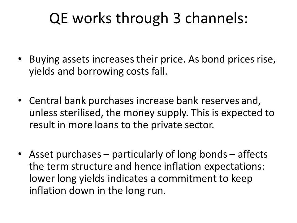 QE works through 3 channels: Buying assets increases their price.