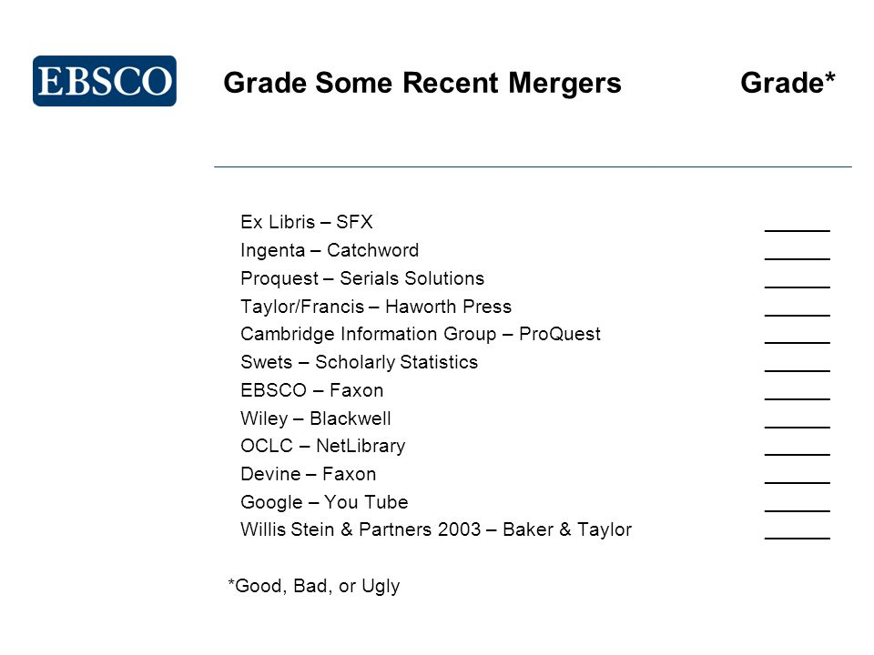 Grade Some Recent Mergers Grade* Ex Libris – SFX______ Ingenta – Catchword______ Proquest – Serials Solutions______ Taylor/Francis – Haworth Press______ Cambridge Information Group – ProQuest______ Swets – Scholarly Statistics______ EBSCO – Faxon______ Wiley – Blackwell______ OCLC – NetLibrary______ Devine – Faxon______ Google – You Tube______ Willis Stein & Partners 2003 – Baker & Taylor______ *Good, Bad, or Ugly