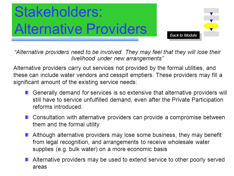 Stakeholders: Alternative Providers Alternative providers need to be involved.