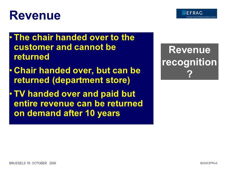 ©2006 EFRAG BRUSSELS 18. OCTOBER 2006 REVENUE RECOGNITION Examples Stig Enevoldsen 18 October 2006