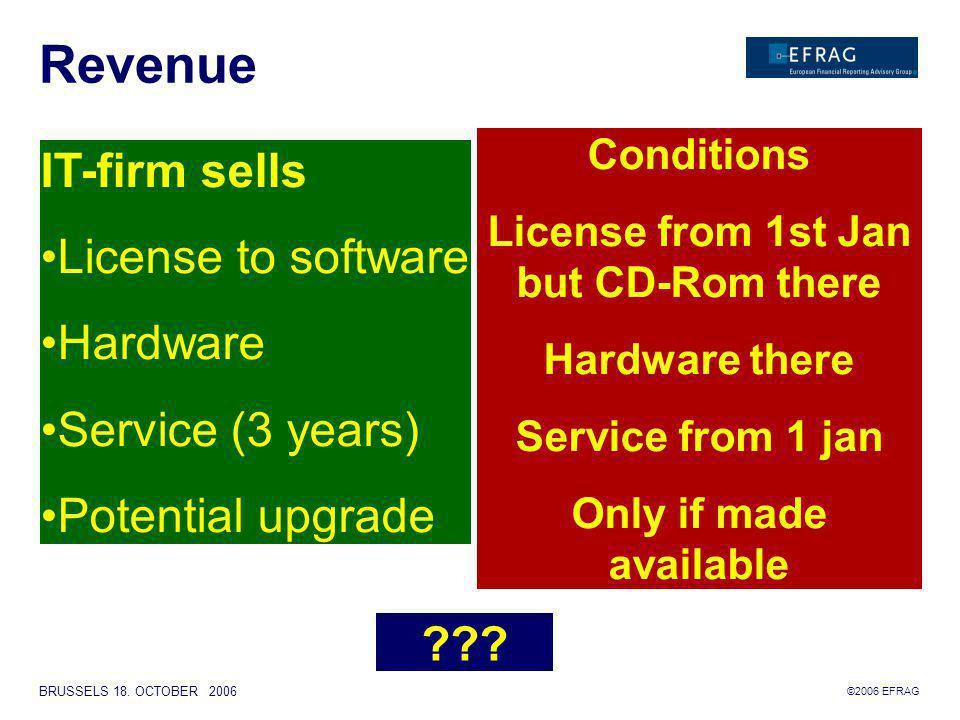 ©2006 EFRAG BRUSSELS 18. OCTOBER 2006 Revenue Hardware Service Licens