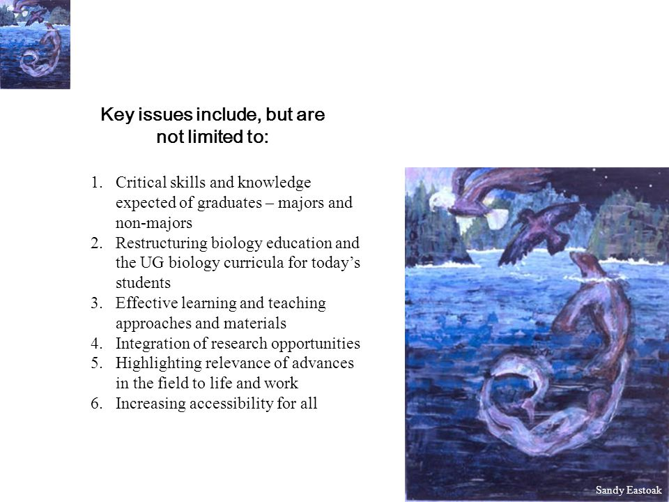 Key issues include, but are not limited to: 1.Critical skills and knowledge expected of graduates – majors and non-majors 2.Restructuring biology education and the UG biology curricula for todays students 3.Effective learning and teaching approaches and materials 4.Integration of research opportunities 5.Highlighting relevance of advances in the field to life and work 6.Increasing accessibility for all Sandy Eastoak