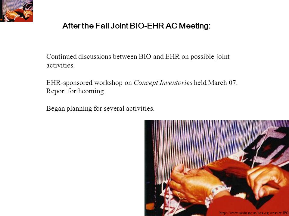 After the Fall Joint BIO-EHR AC Meeting: Continued discussions between BIO and EHR on possible joint activities.