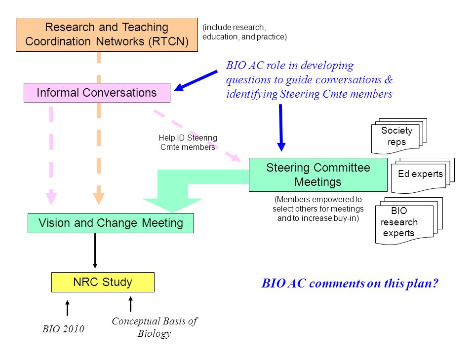 Research and Teaching Coordination Networks (RTCN) Steering Committee Meetings Vision and Change Meeting NRC Study BIO 2010 Conceptual Basis of Biology (include research, education, and practice) (Members empowered to select others for meetings and to increase buy-in) Help ID Steering Cmte members Informal Conversations BIO AC role in developing questions to guide conversations & identifying Steering Cmte members BIO AC comments on this plan.