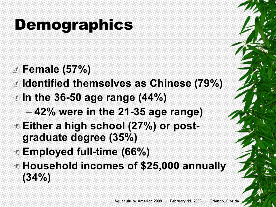 Demographics Aquaculture America 2008 - February 11, 2008 - Orlando, Florida Female (57%) Identified themselves as Chinese (79%) In the 36-50 age rang