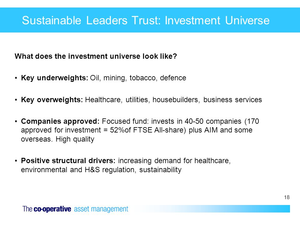 18 Sustainable Leaders Trust: Investment Universe What does the investment universe look like? Key underweights: Oil, mining, tobacco, defence Key ove